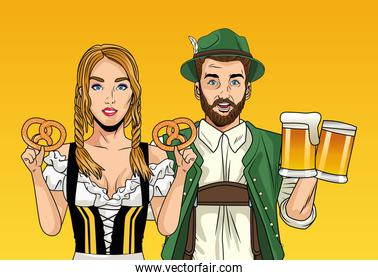 oktoberfest celebration card with german couple lifting beers and pretzels