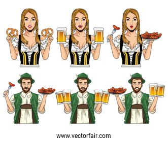 oktoberfest celebration card with german people with food and beers