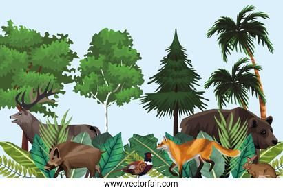 group of animals in the jungle scene