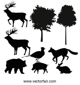 group of animals silhouettes bundle set icons