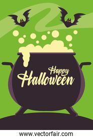 happy halloween card with witch cauldron and bats