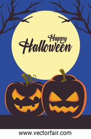 happy halloween card with pumpkins and lettering scene