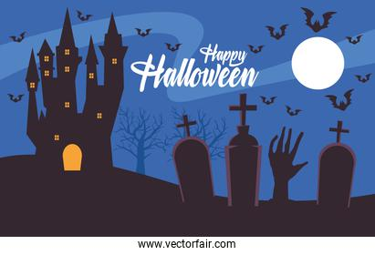 happy halloween card with haunted castle in cemetery