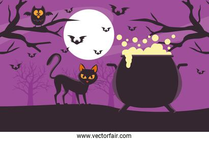 happy halloween card with witch cauldron and cat