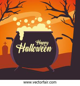 happy halloween card with witch cauldron in cemetery