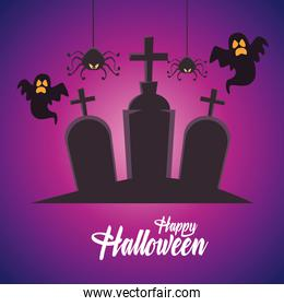 happy halloween card with ghosts and spiders in cemetery