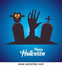happy halloween card with hand death and owl in cemetery
