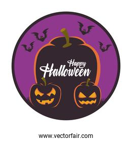happy halloween card with pumpkins and bats flying scene