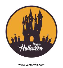 happy halloween card with haunted castle in circular frame