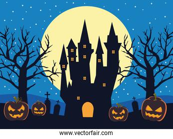 happy halloween card with haunted castle and pumpkins