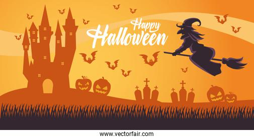 happy halloween card with witch flying in broom and cemetery