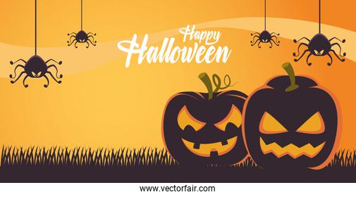 happy halloween card with pumpkins and spiders scene