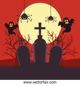 happy halloween card with ghosts and spiders in cemetery night scene