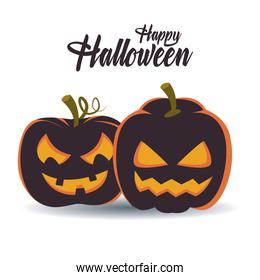 happy halloween card with lettering and pumpkins scene