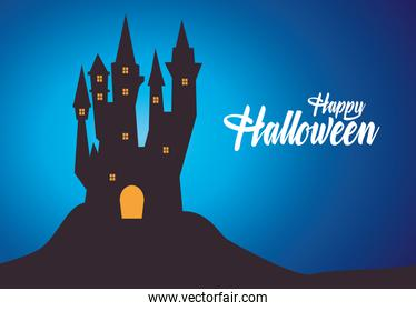 happy halloween card with haunted castle and lettering