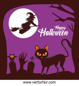 happy halloween card with witch flying in broom and cat in cemetery