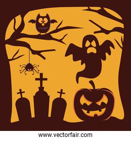 happy halloween card with pumpkin and ghosts floating in cemetery