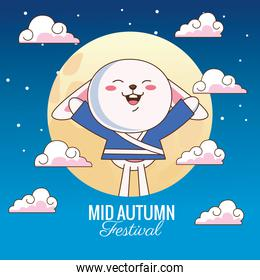mid autumn celebration card with little rabbit and moon in clouds