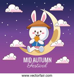 mid autumn celebration card with little rabbit in crescent moon