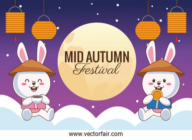 mid autumn celebration card with little rabbits couple with lanterns in clouds