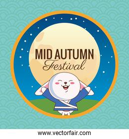 mid autumn celebration card with little rabbit and moon in camp