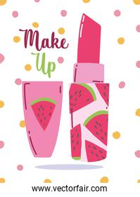 watermelon lipstick cosmetic makeup dotted background