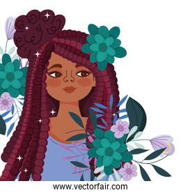 afro american woman cartoon with flowers and leaves