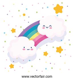 rainbow clouds stars dotted white background cartoon decoration