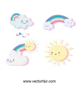 cute sun and happy clouds and rainbows cartoon decoration