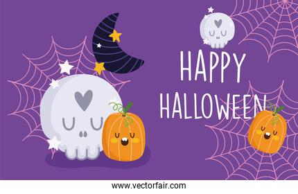 happy halloween, skull pumpkins moon cobweb stars trick or treat party celebration