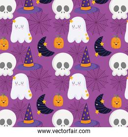 happy halloween, skull pumpkin hat moon and ghost trick or treat party celebration background