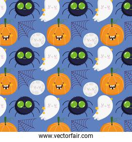 happy halloween, spider pumpkin moon web ghost cartoon trick or treat party celebration background