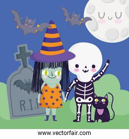 happy halloween, kids with skeleton and witch costume cat tombstone trick or treat party celebration