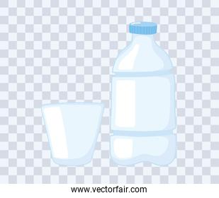 plastic or glass cups bottles mockups, disposable bottle and cup