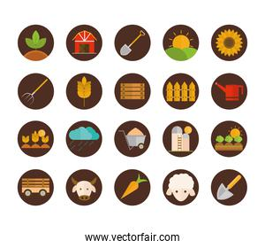 agriculture work equipment farm cartoon block and flat icons set