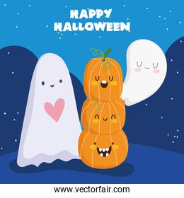 happy halloween, ghosts and stack of pumpkins trick or treat party celebration