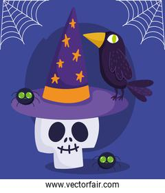 happy halloween, skull with hat raven and spiders trick or treat party celebration