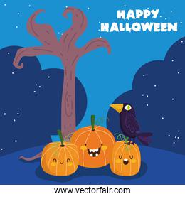 happy halloween, raven on pumpkins tree night trick or treat party celebration