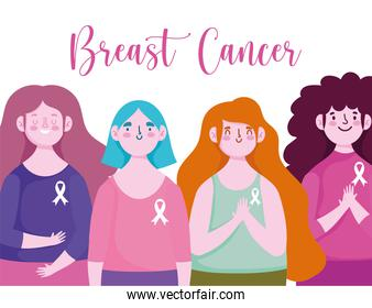 breast cancer awareness month young women with ribbon on shirt characters design