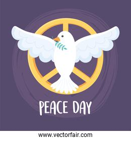 international peace day pigeon with leaf in beak emblem