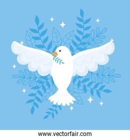 international peace day pigeon with branch leaves blue background