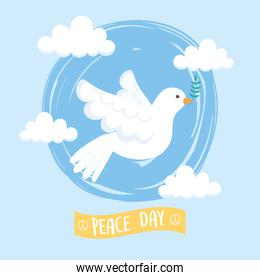international peace day white pigeon holding branch flying sky clouds