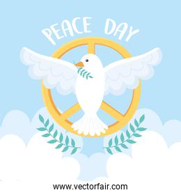 international peace day pigeon with branch gold emblem