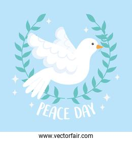 international peace day wreath branch olive and flying dove
