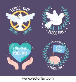 set of four designs for the international day of peace