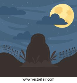 happy halloween, tombstone fence moon night clouds trick or treat party celebration