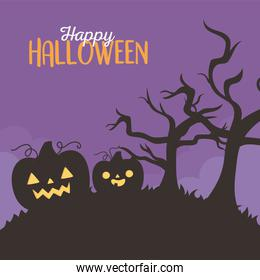 happy halloween, spooky pumpkins dry trees night trick or treat party celebration