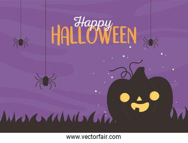 happy halloween, funny pumpkin hanging spiders night trick or treat party celebration