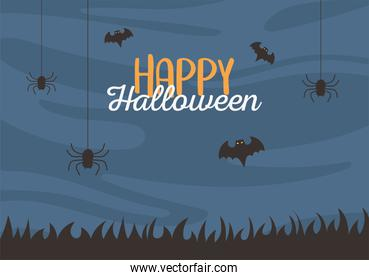 happy halloween, hanging spiders and bats night trick or treat party celebration