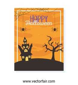 happy halloween, castle spiders dry tree trick or treat party poster